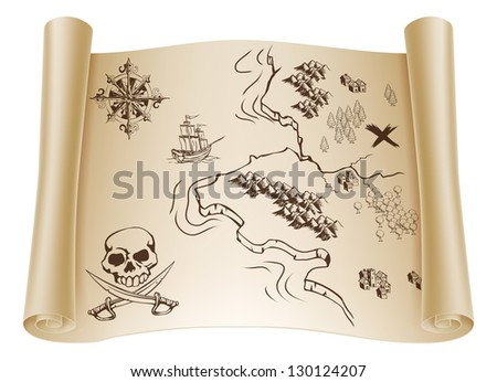 An illustration of an old treasure map on a rolled up paper scroll with x marking the spot - stock vector