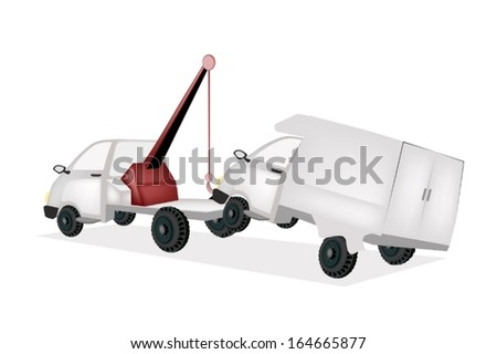 An Illustration of Auto Wrecker Tow Truck, Recovery Truck, Breakdown Lorry or A Breakdown Truck Recover A Broken down Vehicle to Another Location.  - stock vector