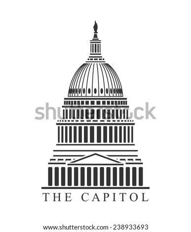 An illustration of Capitol building concept - stock vector