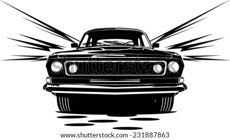 an illustration of classic car abstract silhouette front view with motion lines - stock vector