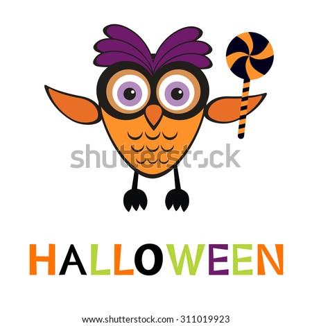 An illustration of cute halloween owl in vector format - stock vector