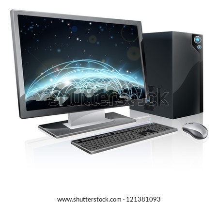 An illustration of desktop PC computer workstation with world globe on the screen. Monitor, mouse keyboard and tower - stock vector