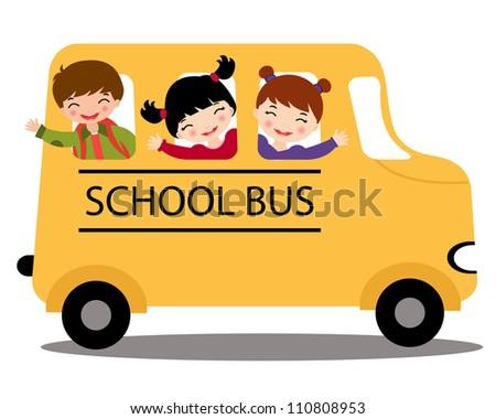 An illustration of happy kids in school bus - stock vector