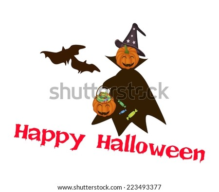 An Illustration of Jack-o-Lantern Pumpkin in Halloween Costume Holding Hand with Hard Candy Basket, For Halloween Celebration.  - stock vector