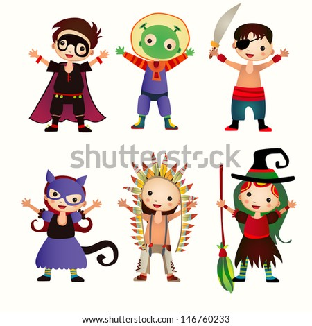 An illustration of kids in halloween costumes. Figures of children in festive costumes on the isolated background. - stock vector
