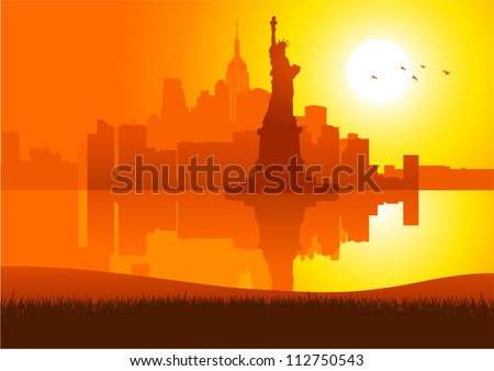 An illustration of New York City skyline at sunset - stock vector