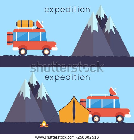 An illustration of off-road car on mountain road. Investigation untouched corners of nature. Hiking, travel, expedition. Travel by land. Outdoor Adventure. 2 banners. Vector illustration. Flat style. - stock vector