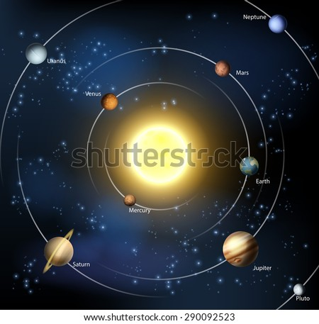 An illustration of our solar system with all the official planets plus Pluto. - stock vector