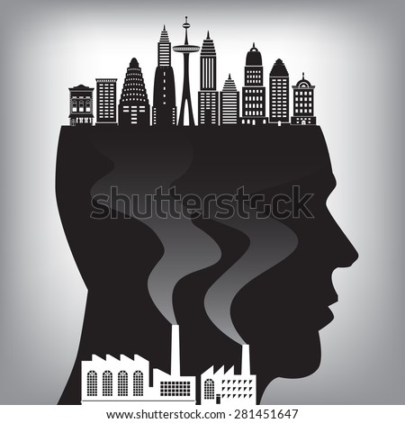 An illustration of pollution in the city for pollution concept - stock vector