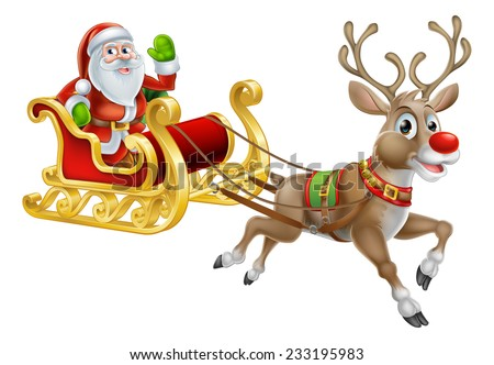 An illustration of Santa Claus riding in his Christmas Sleigh or Sled delivering presents with his red nosed reindeer - stock vector