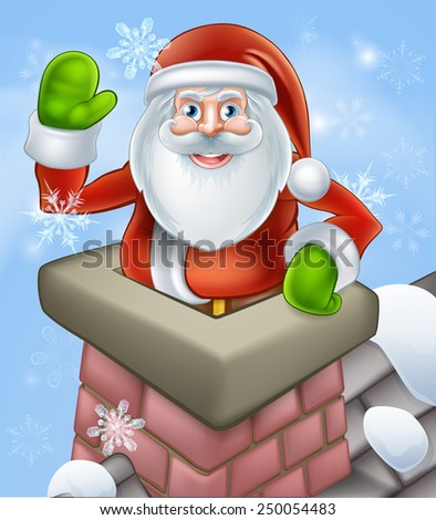 An illustration of Santa on a snowy rooftop poping out of a chimney and waving at Christmas. - stock vector