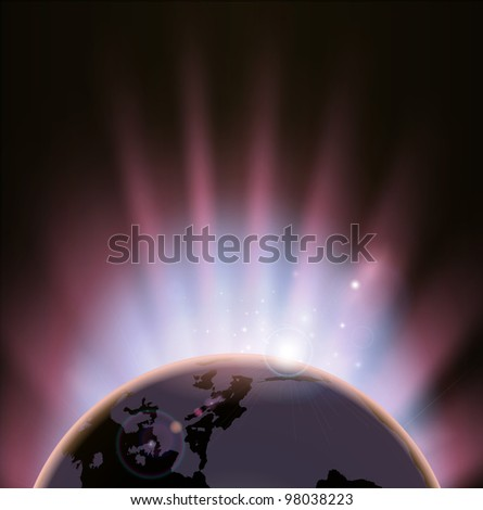 An illustration of the earth eclipsing the sun as it rises over it - stock vector
