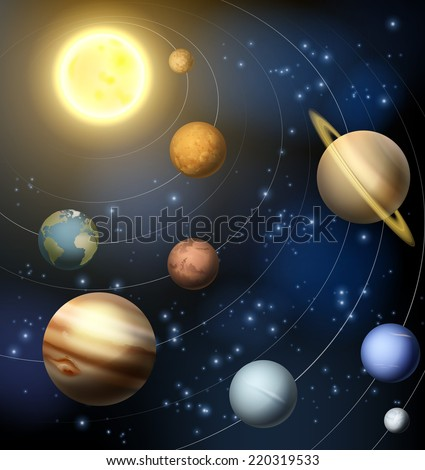 An illustration of the planets orbiting the sun in the solar system including the dwarf planet Pluto - stock vector