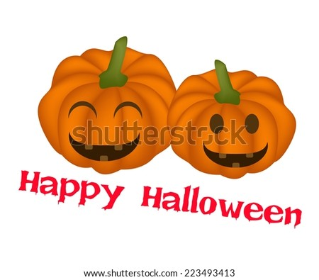 An Illustration of Two Happy Jack-o-Lantern Pumpkins Isolated on White Background, For Halloween Celebration.  - stock vector