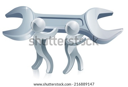 An illustration of two silver men holding a big spanner  - stock vector