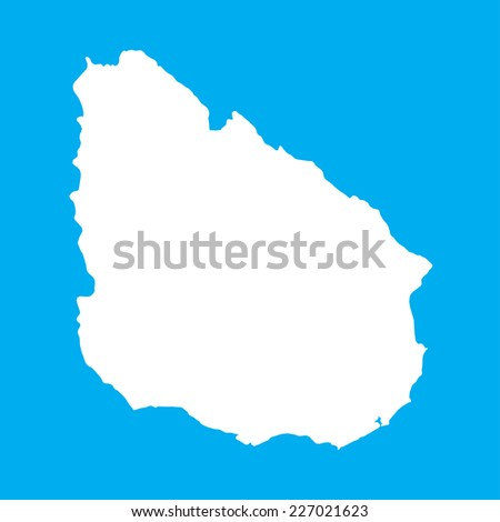 An Illustration on an Blue background of Uruguay - stock vector