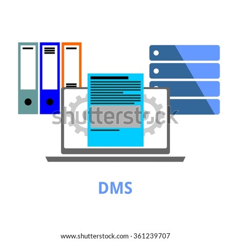 An illustration showing a document management system concept - stock vector