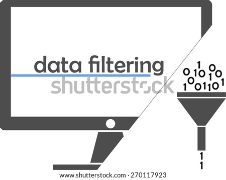 An illustration showing a funnel as a data filter - stock vector