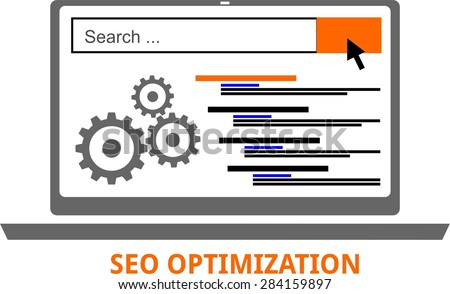 An illustration showing a search engine optimization concept - stock vector
