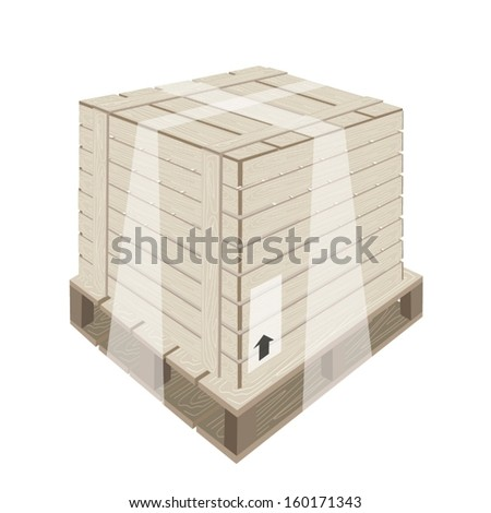 An Illustration Wooden Crate or Cargo Box Wrapped in Plastic Shrink Wrap and Steel Banding on A Wooden Pallet, Preparing for Shipment.  - stock vector