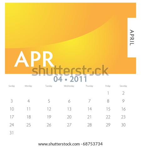 An image of a 2011 April calendar. - stock vector