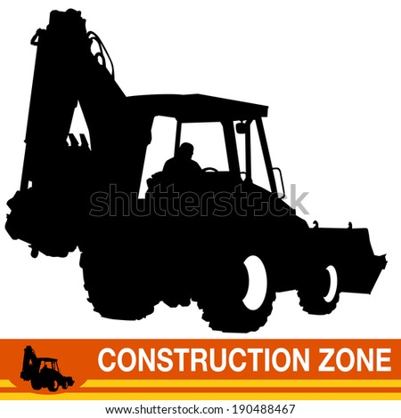 An image of a backhoe loader construction vehicle. - stock vector