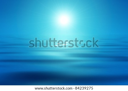 An image of a beautiful blue sea and sun background - stock vector