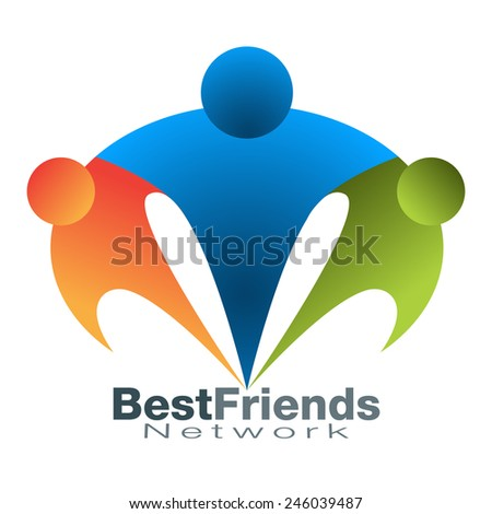 An image of a best friend network icon. - stock vector