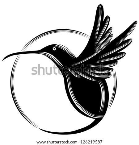 An image of a black hummingbird. - stock vector