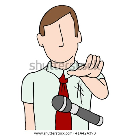 An image of a businessman dropping the mic. - stock vector