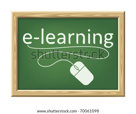 An image of a chalk board with the word e-learning and a mouse - stock vector
