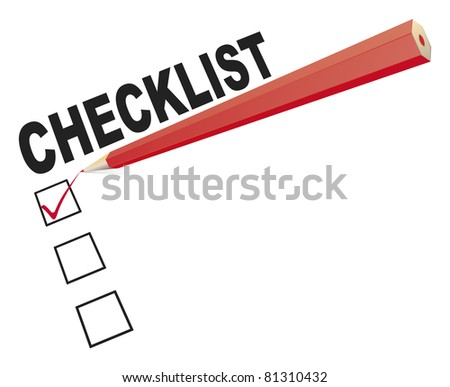 An image of a checklist with a red pencil - stock vector