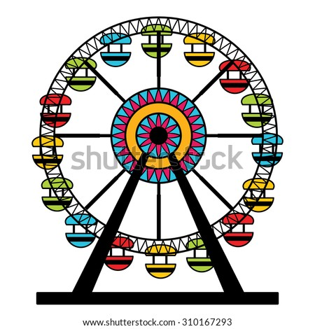 An image of a colorful ferris wheel amusement park ride. - stock vector