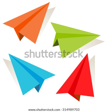 An image of a 3d paper airplane icon set. - stock vector