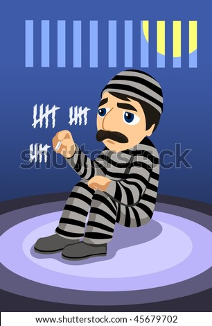 An image of a depressed prisoner sitting in his prison cell marking days on the wall - stock vector