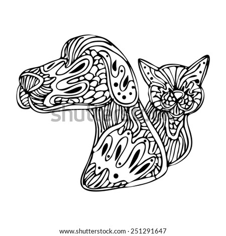 An image of a dog and cat - zentangle style. - stock vector
