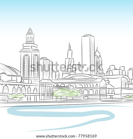 An image of a downtown skyline of chicago. - stock vector