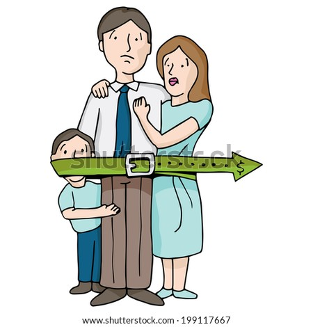 An image of a family tightening their budget belt. - stock vector