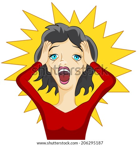 An image of a girl in a panic. - stock vector