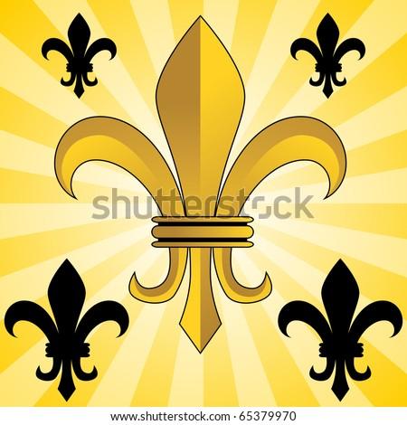 An image of a glowing gold fleur de lis symbol. - stock vector