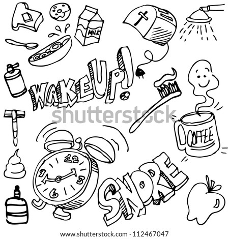 An image of a good morning drawing set. - stock vector