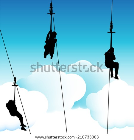 An image of a group of people on a zip line ride. - stock vector