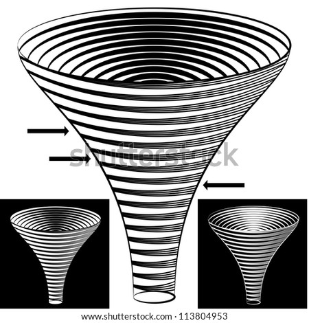 An image of a halftone funnel chart. - stock vector