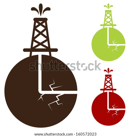 An image of a hydraulic fracturing icon. - stock vector