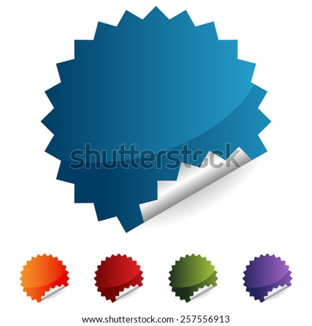 An image of a label button icon set. - stock vector