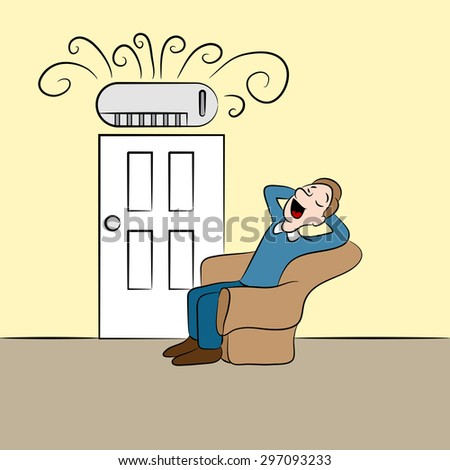An image of a man cooling off while using a ductless air conditioning unit. - stock vector