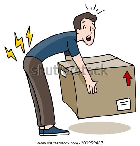 An image of a man injuring his back while lifting a box. - stock vector