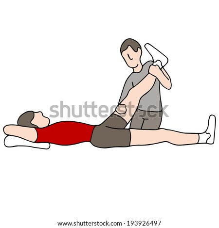 An image of a man receiving leg physical therapy. - stock vector