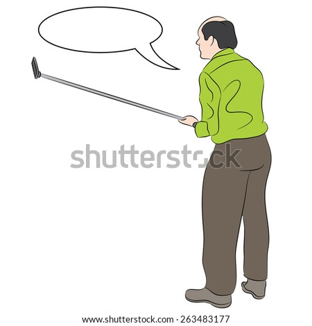 An image of a man taking a selfie using a monopod stick. - stock vector