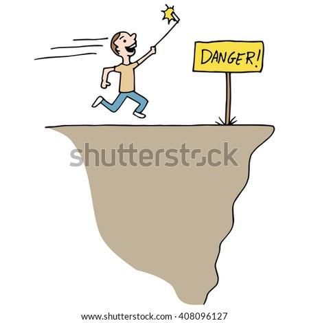 An image of a man taking selfie he's in danger. - stock vector
